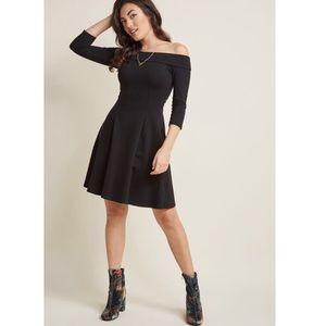 ModCloth Off Shoulder Black Mini Dress Medium
